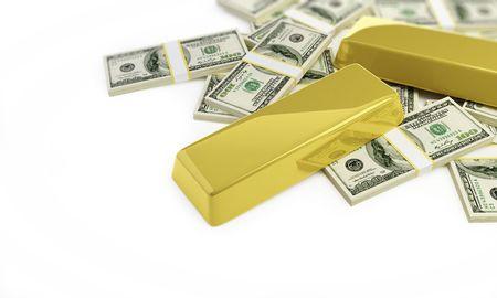 goldbars: bullions and dollars