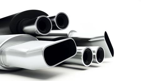 exhaust: muffler isolated Stock Photo