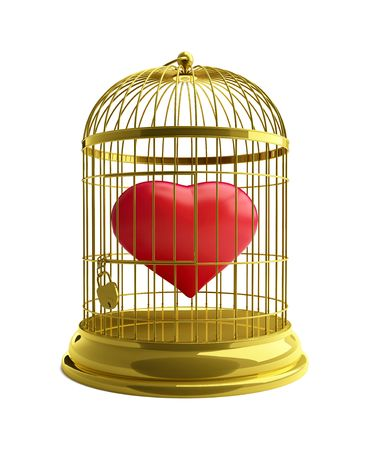 became: heart in a cage for birds Stock Photo