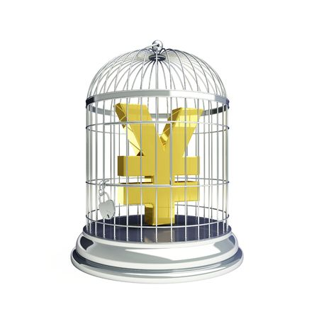 yen sign in a cage for birds photo