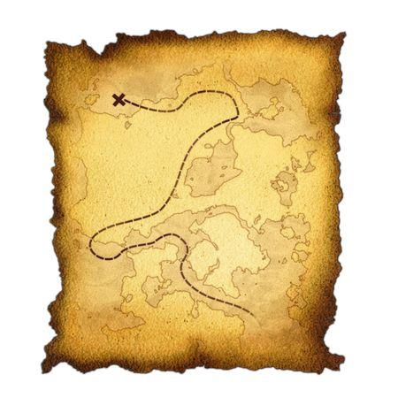 scrool: burnt treasure map Stock Photo