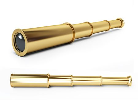 gold spyglass on a white background