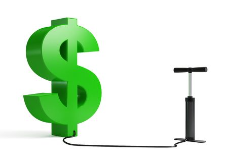 on air sign: dollar pump on a white background Stock Photo