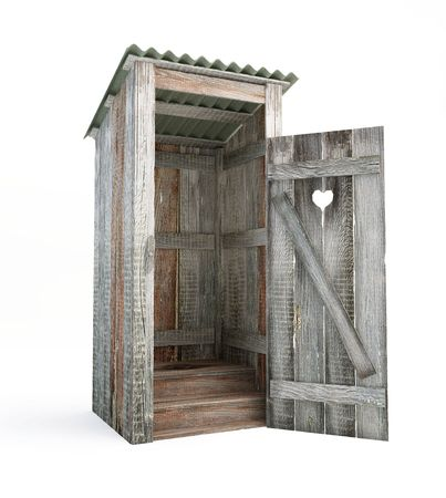 outhouse: outdoor toilet isolated on a white background