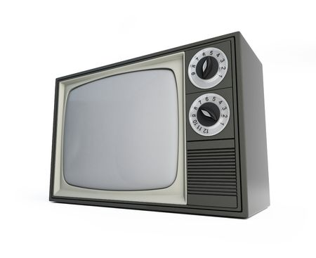old tv isolated on a white background  photo