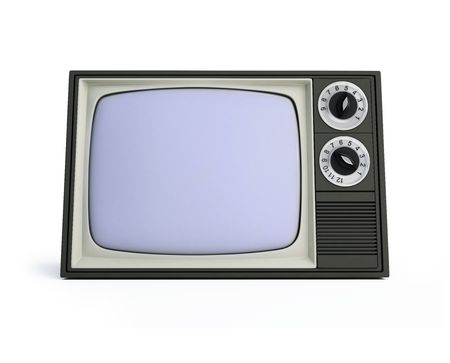 old televisor isolated on a white background photo