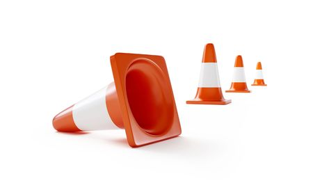 road construction isolated on a white background photo
