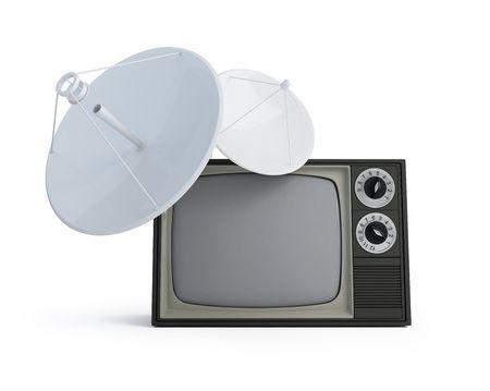 parabolic mirror: tv parabolic antena isolated on a white background