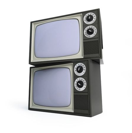 two old televisor isolated on a white background photo