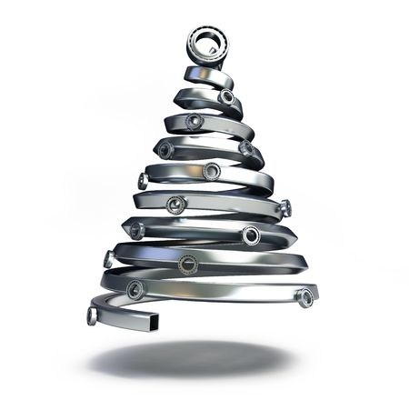 bearings: fir tree from a metallic pipe on a white background