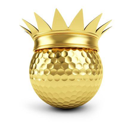 golden ball: gold golf ball  gold crown