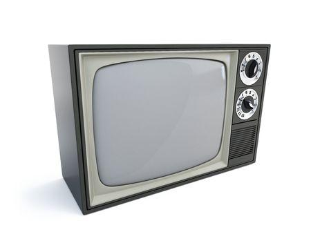 televisor: old televisor isolated on a white background  Stock Photo