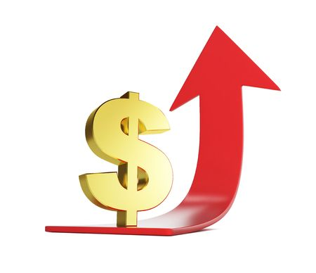 red arrow: moving dollar arrow isolated on a white background  Stock Photo
