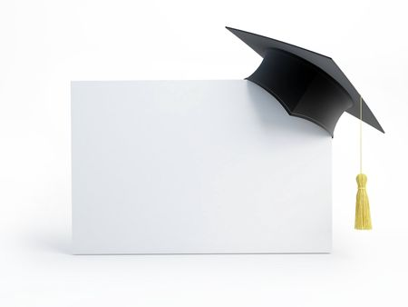 academy: graduation cap blank isolated on a white background  Stock Photo