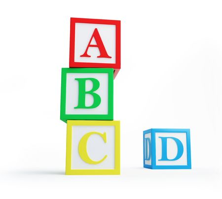 alphabet blocks solated on a white background  photo