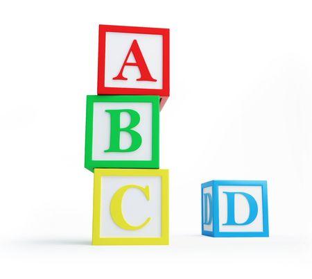 bloques: solated de bloques de alfabeto sobre un fondo blanco