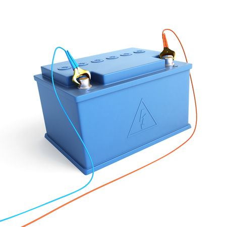 accumulator battery solated on a white background photo