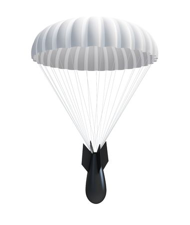 Bomb at Parachute isolated on a white background  photo