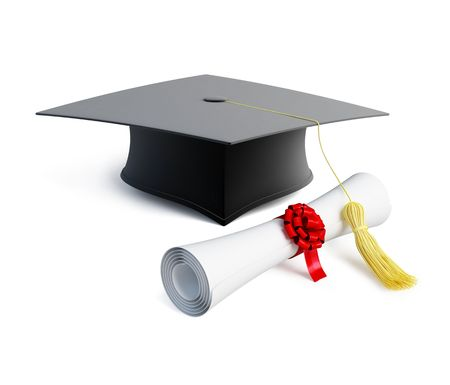 examiert: graduation cap diploma isolated on a white background  Stock Photo