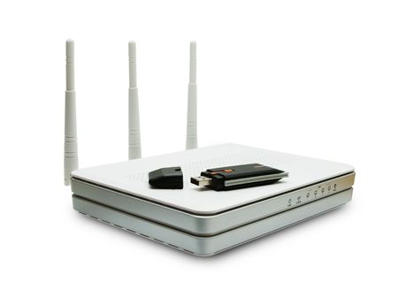 router and usb isolated on a white background photo