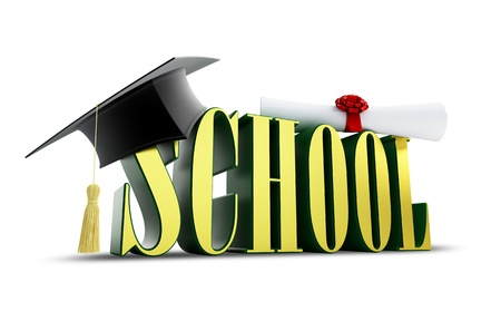 examiert: school and graduation cap isolated on a white background