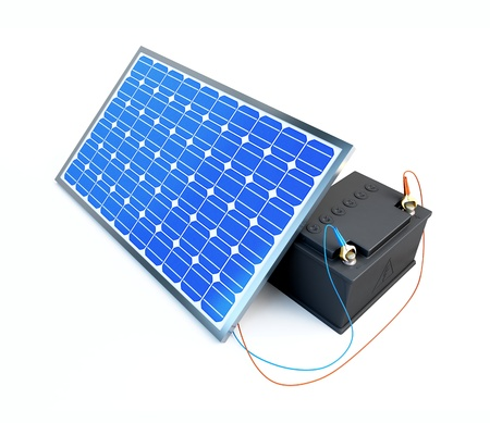 solar panel charges the battery on a white background  Stock Photo