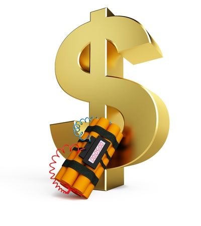 dollar crisis dynamite isolated on a white background photo
