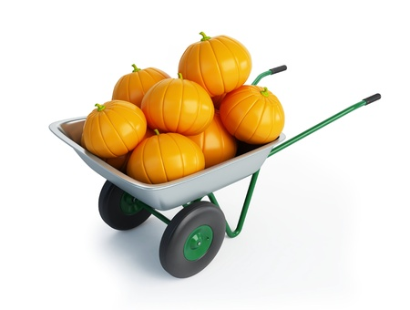 wheelbarrow halloween pumpkins isolated on a white background  Stock Photo - 8431532