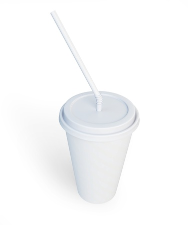 White plastic cup and straw isolated on a white background photo