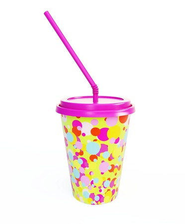 plastic cup and straw isolated on a white background photo