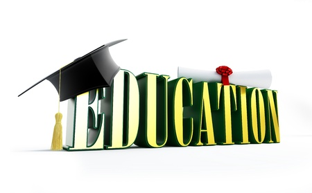 examiert: education and graduation cap isolated on a white background  Stock Photo