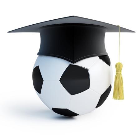 graduacion de universidad: Escuela de Footbol aislado en un fondo blanco