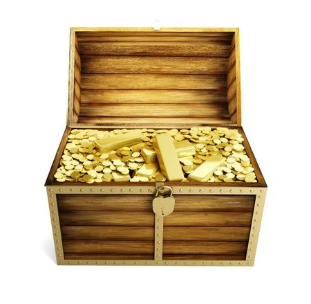 wooden trunk is complete bullions Stock Photo - 8451106