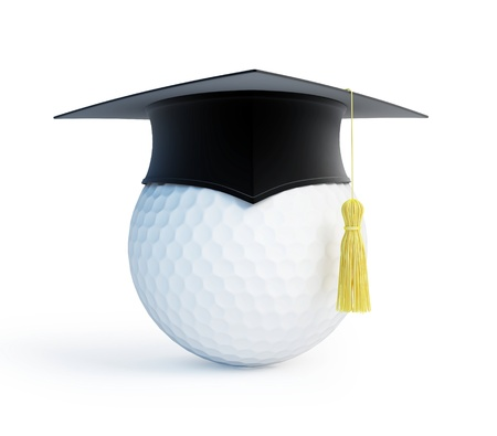 academy: golf school graduation cap  isolated on a white background Stock Photo