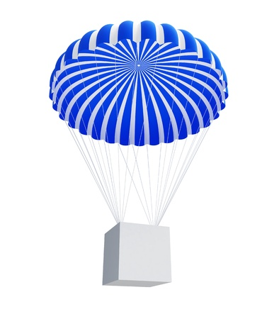 box and Parachute isolated on a white background