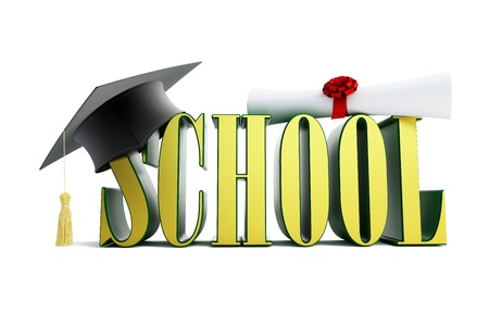 examiert: school and graduation cap isolated on a white background  Stock Photo