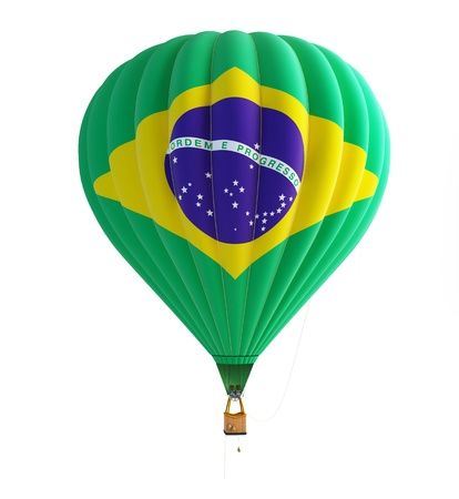 hot air balloon brazil isolated on a white background photo