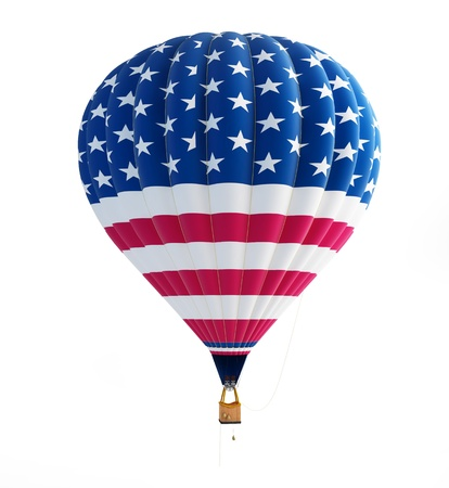 hot air: hot air balloon usa isolated on a white background