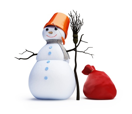 snowmen red bag isolated on a white background Stock Photo - 8458603