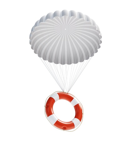 Life Buoy at parachute isolated on a white background  photo