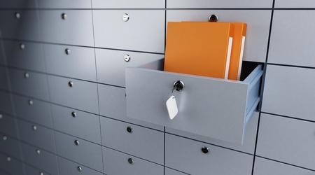sichere Aufbewahrung von Dokumenten geöffnet leere Bank cel