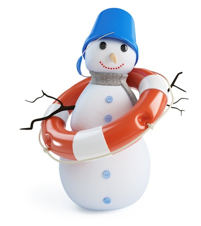 frosty the snowman: snow men lifebelt on a white background
