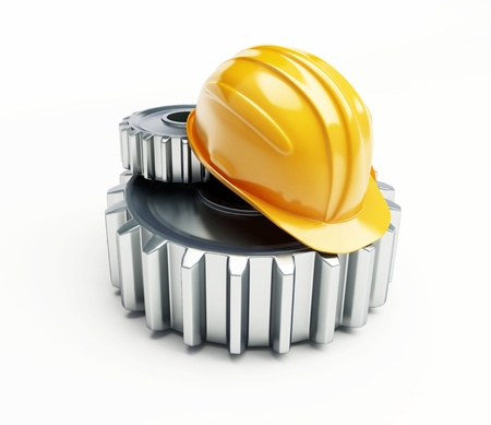 machine gear construction helmet on a white background  Stock Photo - 8685209