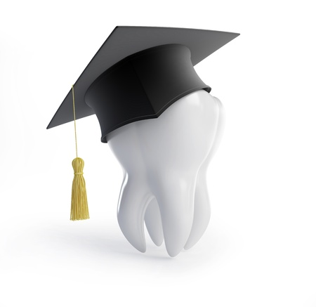 dental caries: graduation cap tooth on a white background