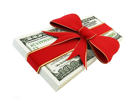 Gift of Money on a white background  Stock Photo