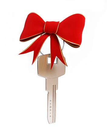 christmas savings: Gift key on a white background
