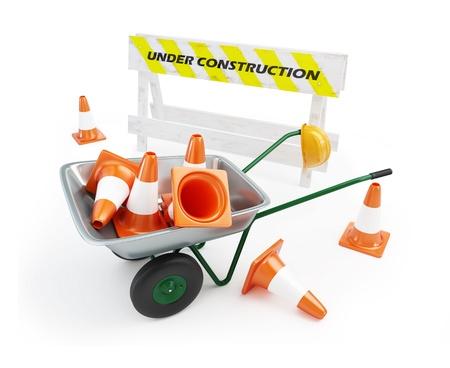 wheelbarrow under construction on a white background Stock Photo - 8685223