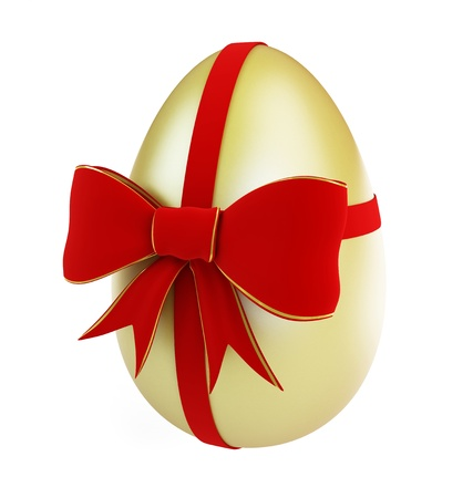 easter egg with bow on a white background Stock Photo - 8685225