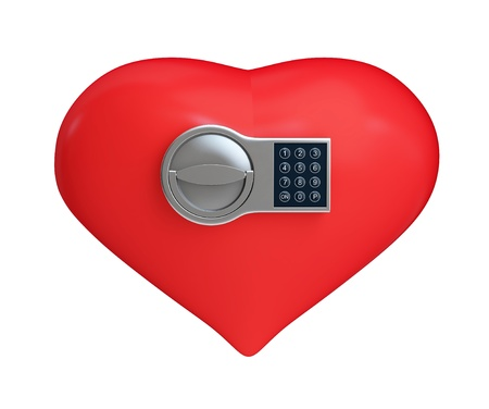 heart on the electronic lock on a white background  photo