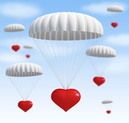 falling in love: heart at  parachute on a sky with clouds